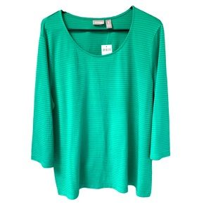 New Women's Chico's Green Long Sleeve Top.